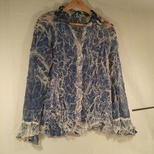 Komarov Blue White Sheer Boho Top Blouse L Approx